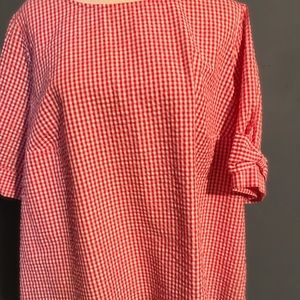 Crown and Ivy Red Checkered Short Sleeve Top Sz 2X